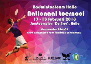 Nationaal Toernooi 2018 Badmintonteam Halle 1986 stad Halle Sportcomplex De Bres Badminton Vlaanderen Argenta Dworp Swaelens Verschingel Blue Note Halse Pub