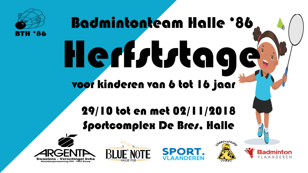 herfstvakantie herfst stage kamp kinderen badminton badmintonkamp Badmintonteam Halle '86 Sportcomplex De Bres Halle jeugd sport
