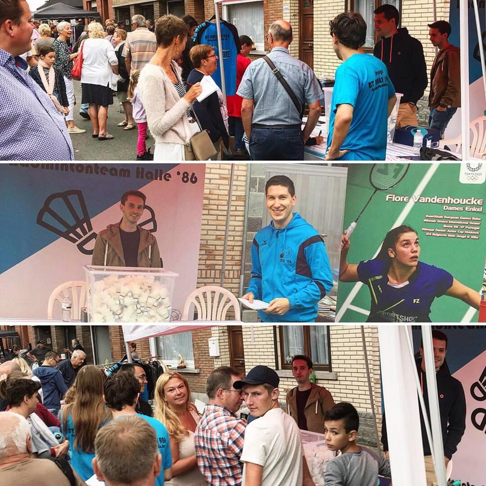 Badmintonteam Halle '86 badminton halle recreatief badminton jeugd badminton competitie Halle rommelmarkt Huizingen 2018 Kevin Van Cutsem Niels De Witte Thomas Decamps