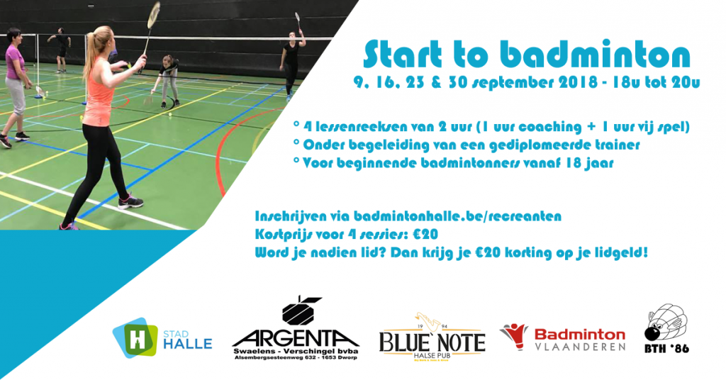 Start to badminton Sportcomplex De Bres Halle  badminton BTH'86 badmintonteam Halle