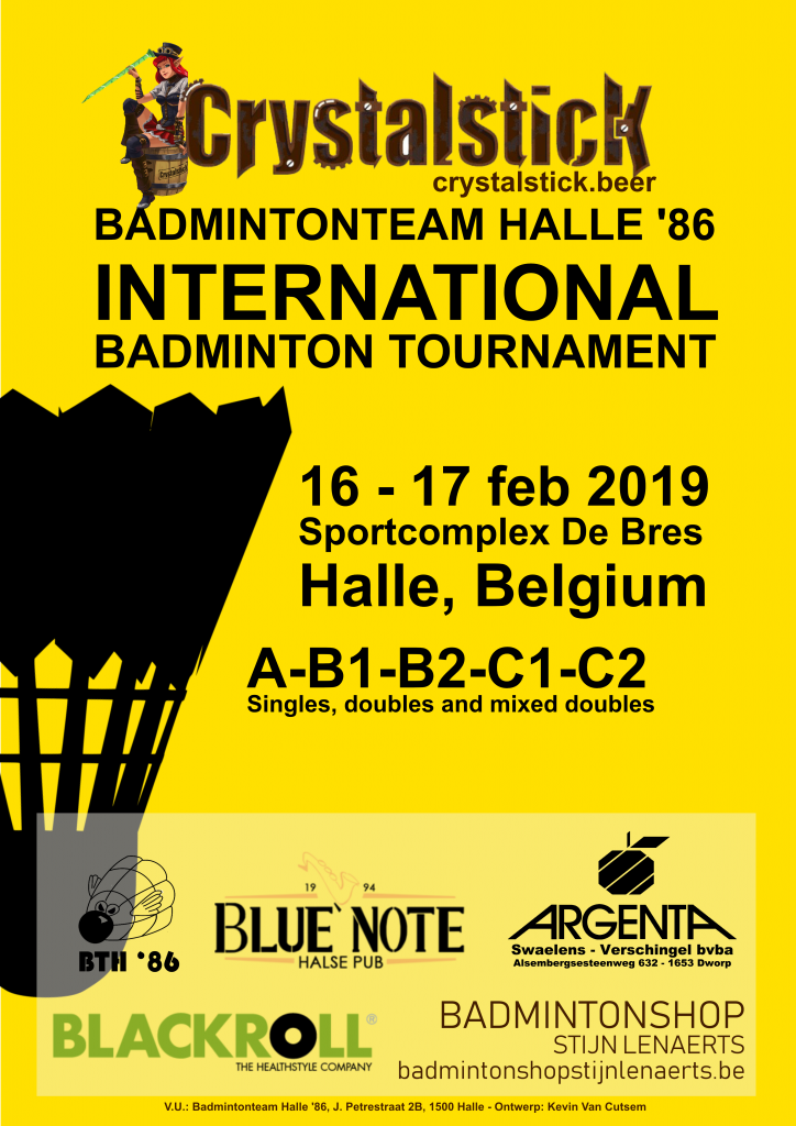 Badmintonteam Halle '86 International tournament toernooi De Bres Halle Crystalstick Beer Blue Note Pub Argenta Dworp Alsemberg