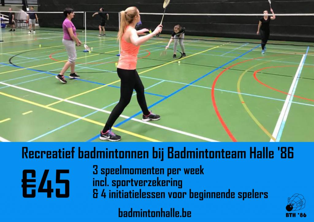 recreatief badmintonnen volwassenen badminton senioren badminton voor het plezier De Bres Halle Buizingen Limbeek Essenbeek