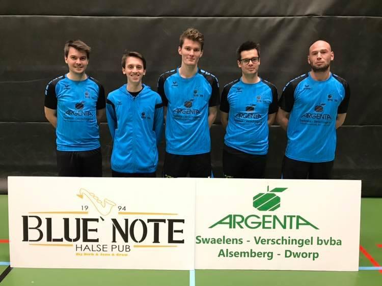 Badmintonteam Halle Liga promotie kampioen Blue Note Argenta Dworp Alsemberg Swaelens Verschingel