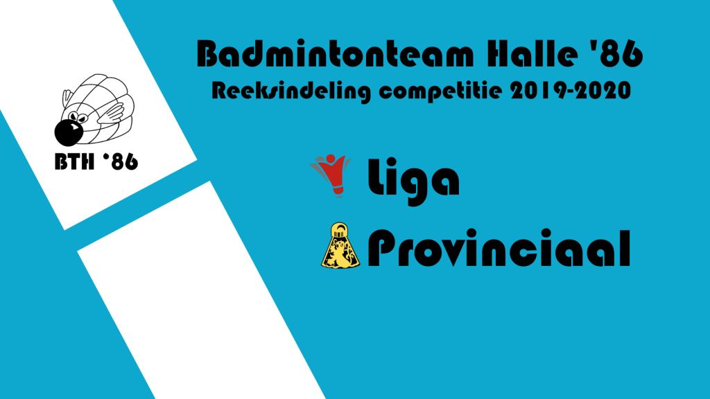 Badmintonteam Halle '86 nationaal nationale VVBBC Vlaanderen Sportcomplex De Bres badminton competitie reeksindeling 2019-2020