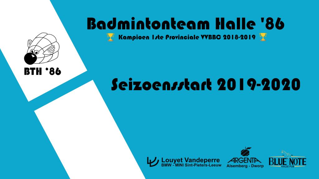 start seizoen De Bres vzw Badmintonteam Halle '86 badminton kampioen 2018-2019