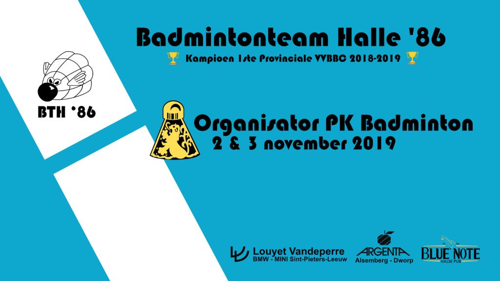 VVBBC Provinciaal Kampioenschap badminton Badmintonteam Halle '86 Sportcomplex De Bres Halle