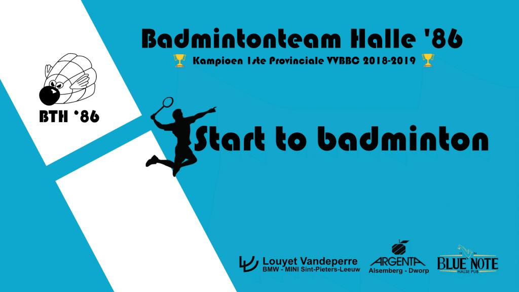 Start to badminton beginnende speler recreant badmintonteam halle '86 De Bres 1500 Halle recreatief badminton