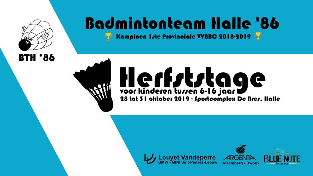Herfststage herfstkamp kamp voor kinderen badmintonkamp Badmintonteam Halle '86 badminton Sportcomplex De Bres