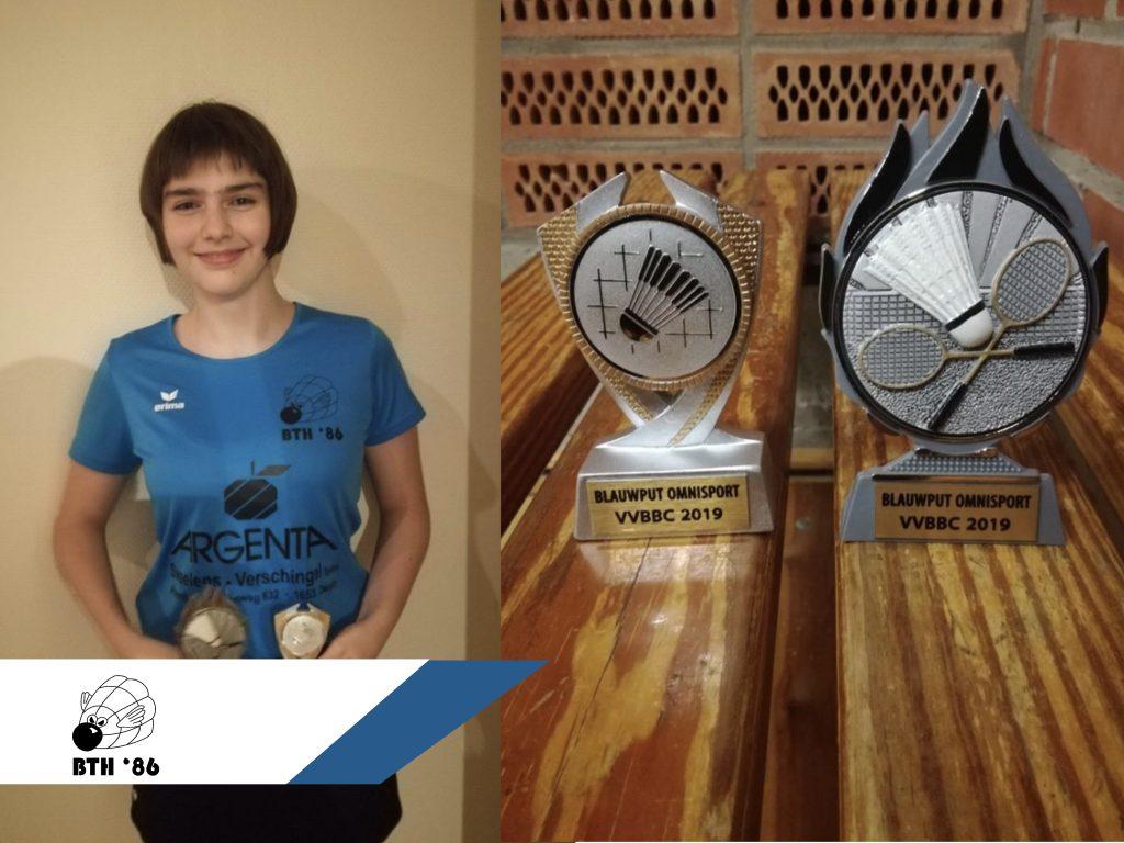 VVBBC Cup Nationaal Jeugdtoernooi Blauwput badminton Jeugd Badmintonteam Halle 86 jeugdwerking BTH '86 jeugdopleiding Britt Dammans Ariana Schoeters Michael Adams