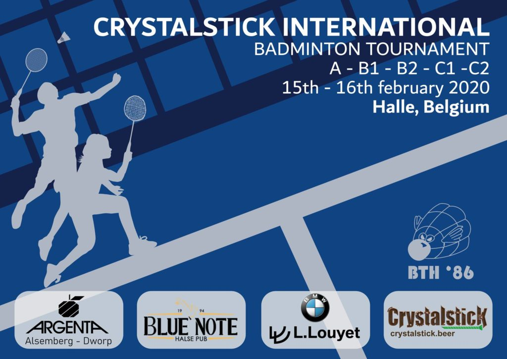 Crystalstick BTH '86 International BWF Badminton tournament Badminton Vlaanderen Badminton World Federation BMW L. Louyet Crystalstick Beer Blue Note Pub Halle Argenta Alsemberg Dworp