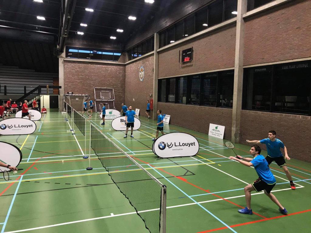 Badmintonteam Halle '86 BTH '86 Badminton Vlaanderen BMW L. Louyet Argenta Alsemberg Dworp Blue Note Pub Halle Kevin Van Cutsem Nias Devalckeneer Bavo Barbé