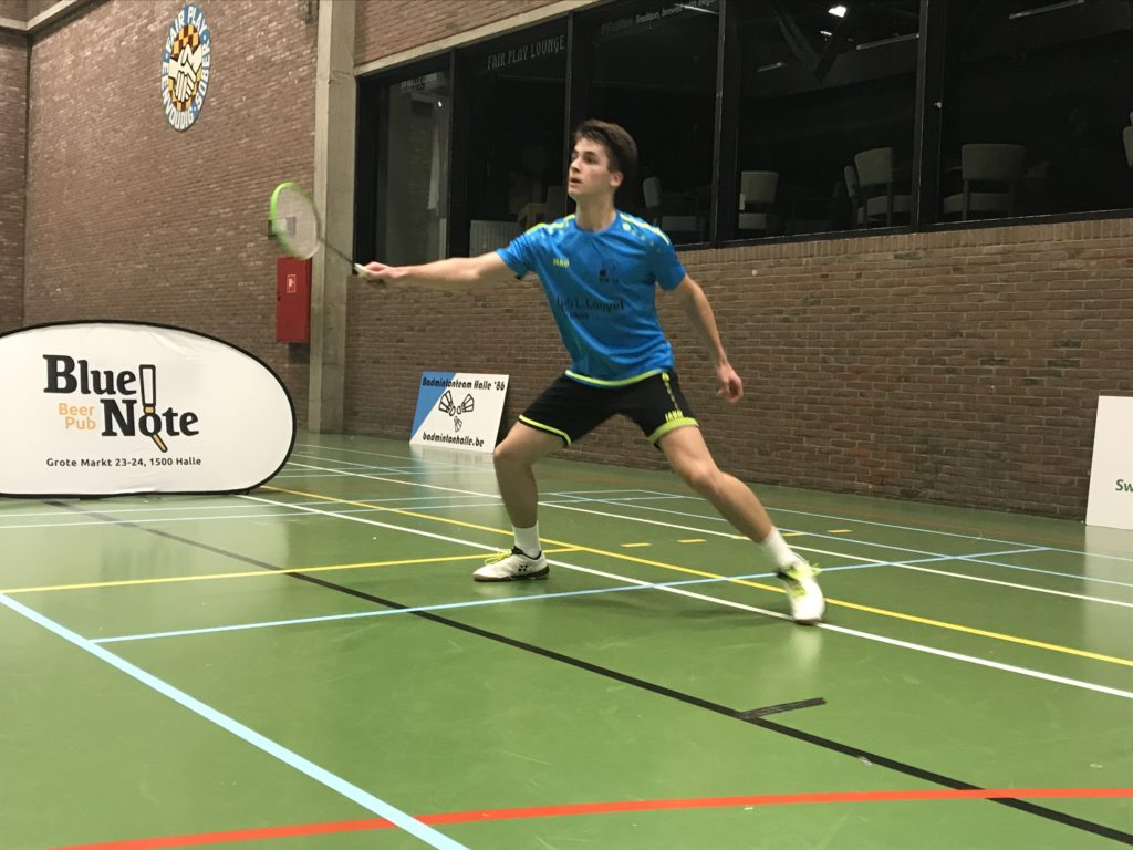 Timon Denayer Badmintonteam Halle '86 badminton Halle Sportcomplex De Bres Blue Note Pub competitie jeugd recreatief badminton