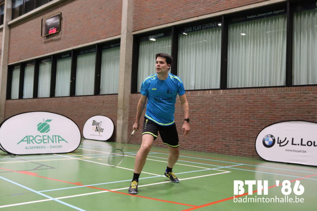 BTH '86 Badmintonteam Halle '86 badminton halle Sportcomplex De Bres Argenta Alsemberg Dworp Blue Note Pub Halle BMW Louyet Thomas Decamps VVBBC Badminton Vlaanderen