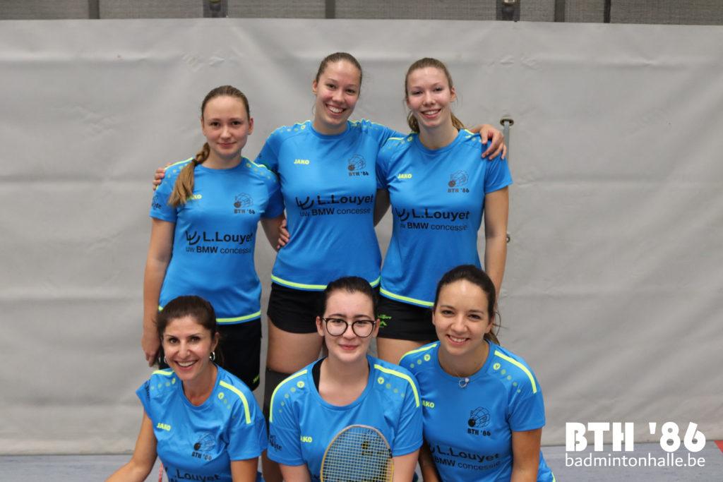Dames damesbadminton meisjes girls Halle badminton VVBBC Badminton Vlaanderen Sportcomplex De Bres ladies 1D BMW L. Louyet