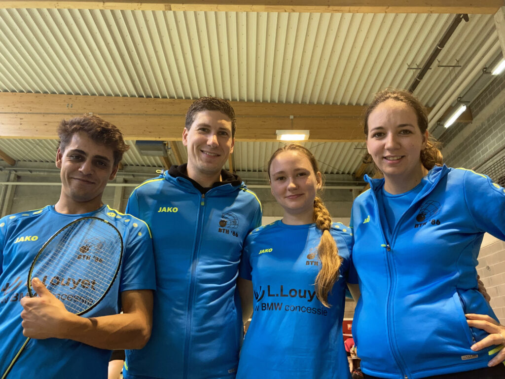 Nationaal Toernooi BC Beaumont LFBB Badmintonteam Halle '86 Kevin Van Cutsem Dorien Kellaert Thomas Kaviani Laura Buelinckx badminton Halle BMW L. Louyet