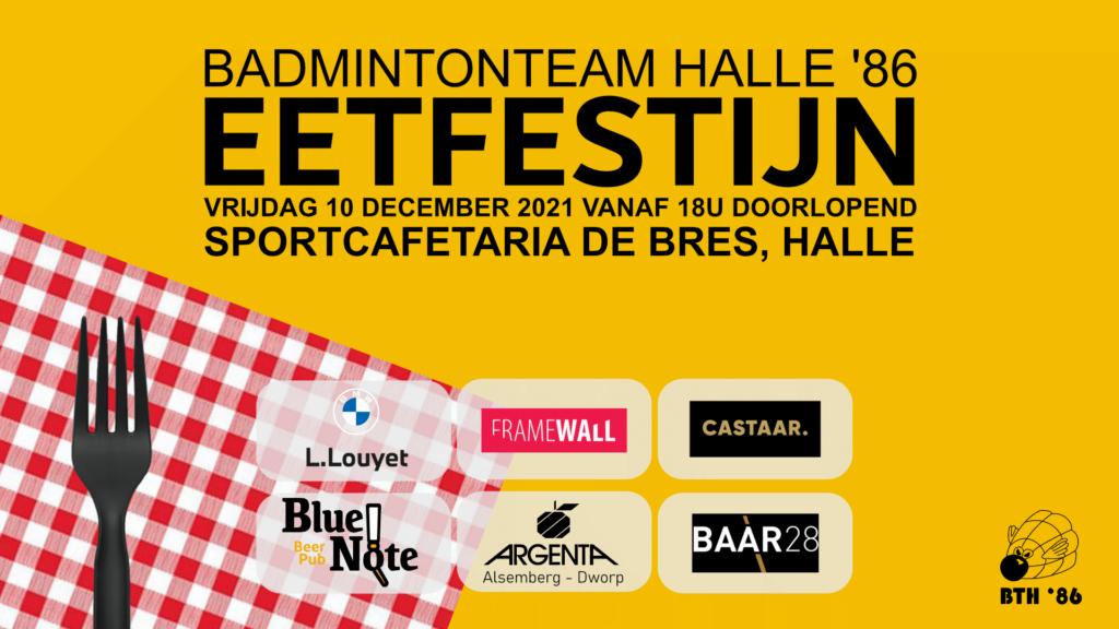 Eetfestijn Halle BTH '86 Badmintonteam Halle '86 restaurant dineren lekker eten Sportcomplex De Bres